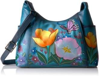 Anuschka Anna By Hand Painted Large Shoulder Bag Floral Garden Denim, Fold-D-Floral Garden Denim