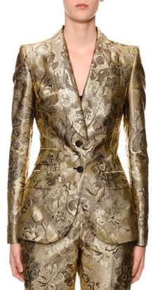 Dolce & Gabbana Two-Button Shawl-Collar Metallic Floral-Jacquard Jacket