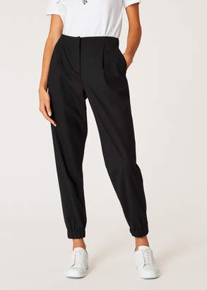 Paul Smith Women's Black Wool-Hopsack Trousers With Elasticated Cuffs