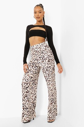 boohoo Leopard Print Slinky Wide Leg Pants