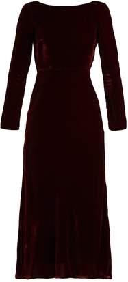 Saloni Tina boat-neck velvet dress