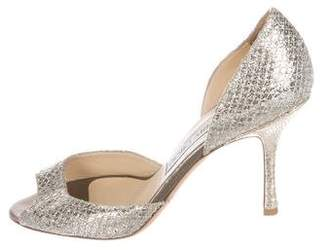 b871e3adc06 Pre-Owned at TheRealReal · Jimmy Choo Woven Glitter Peep-Toe Pumps