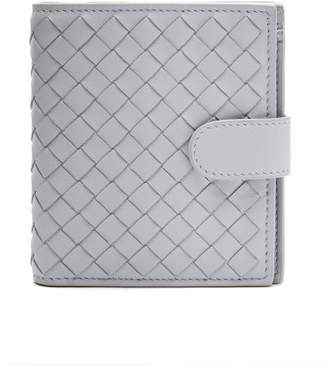 Bottega Veneta Intrecciato Bi Fold Leather Wallet - Womens - Light Blue