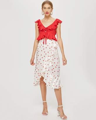 Topshop Satin Spot Ruffle Midi Skirt