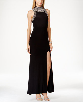 Betsy & Adam Mock-Neck Jewel-Trim Sleeveless Dress $239 thestylecure.com