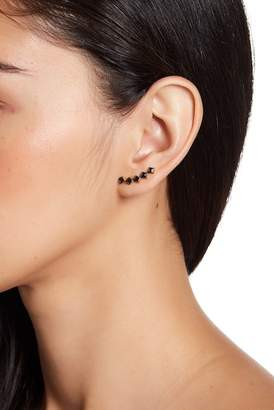 Freida Rothman 14K Gold Vermeil Black CZ Ear Climber Earrings