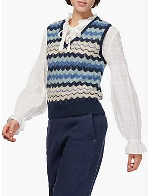 Brora Cashmere Wave Knitted Tank Top, French Navy