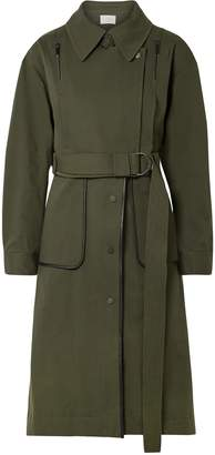 Jason Wu Grey Convertible Leather-trimmed Cotton-blend Twill Coat