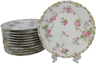 One Kings Lane Vintage Haviland Roses Dessert Plates - Set of 12