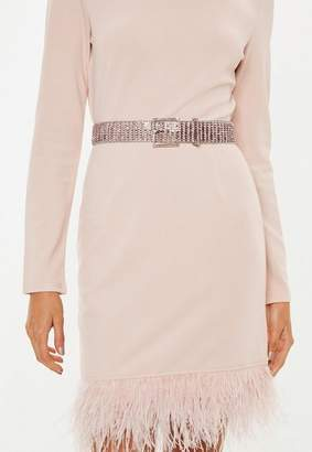Missguided Pink Thick Diamante Belt