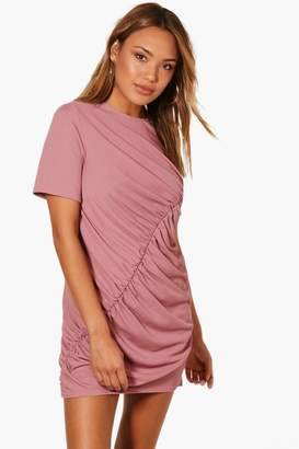 boohoo Ribbed Ruched Shift Dress