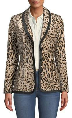 Frame Fitted Button-Front Leopard-Print Velvet Jacket