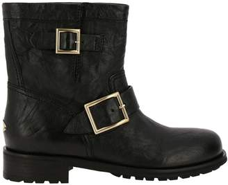 Jimmy Choo Flat Booties Youth Biker Style Ankle Boots In Satined Leather With Maxi Metallic Buckles