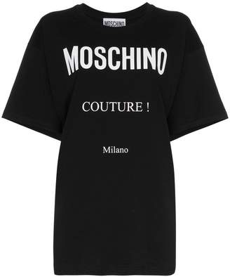 Moschino boxy logo print cotton short sleeve t shirt