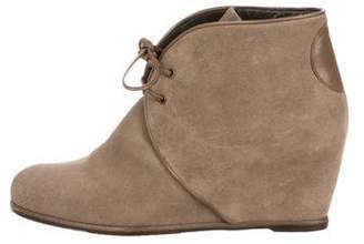 Stuart Weitzman Suede Ankle Wedge Boots