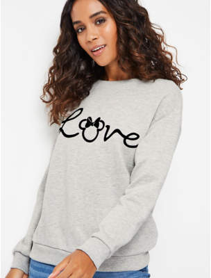 Disney Minnie Mouse Grey Long Sleeve Sweatshirt