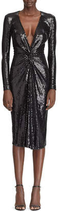 Ralph Lauren Sequined Deep V-Neck Twisted Dress