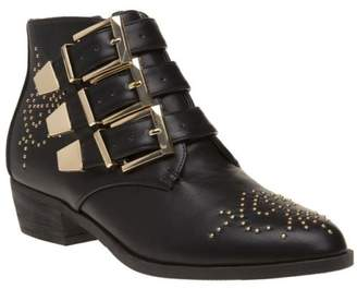 Josie New Womens SOLESISTER Black Pu Boots Ankle Buckle Zip