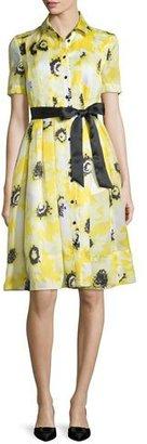 Kate Spade New York Sunny Daisy Silk Organza Shirtdress, Yellow $598 thestylecure.com