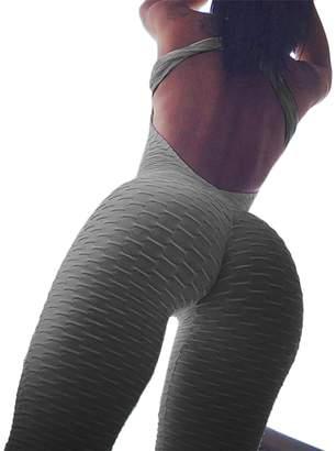 WIFORNT Womens Butt Lift Jumpsuit Yoga Pants Sleeveless Backless Bandage Romper