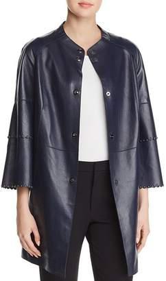 Elie Tahari Tatum Studded Leather Coat
