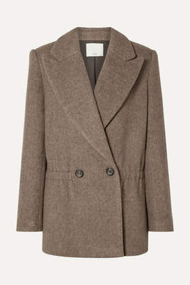 Tibi Brushed Herringbone Wool-blend Jacket - Brown
