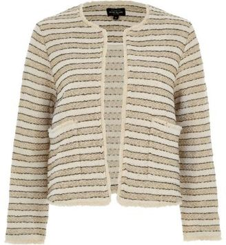 River Island Womens Cream and gold stripe jacket $90 thestylecure.com