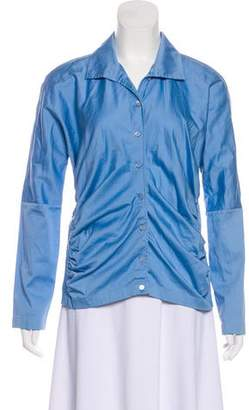 Magaschoni Ruche-Accented Long Sleeve Blouse