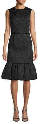 Oscar de la Renta Brocade Flounce Hem Sheath Dress