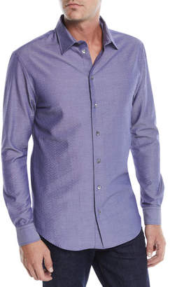 Emporio Armani Men's Seersucker Sport Shirt, Blue/Gray