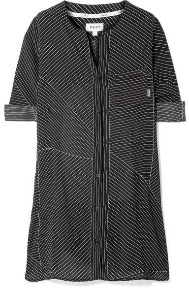 City Vibe Pinstriped Washed-satin Nightdress - Black