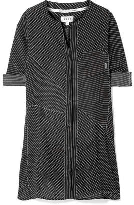 DKNY City Vibe Pinstriped Washed-satin Nightdress - Black