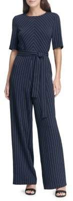 DKNY Short Sleeve Tie-Belt Jumpsuit