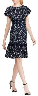 Ralph Lauren Lace-Trimmed Floral Crepe Dress