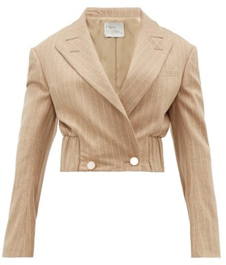 Hillier Bartley Pinstripe Wool Blend Cropped Jacket - Womens - Beige Multi