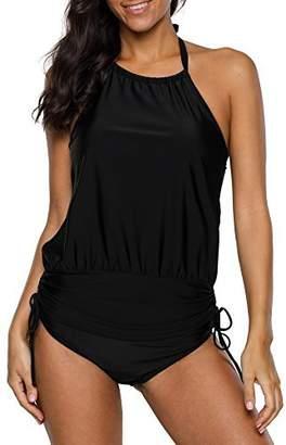 3afe87595b2b0 beautyin Two Piece Swimwear Womens Tummy Control Ruched Tankini Swimsuit l