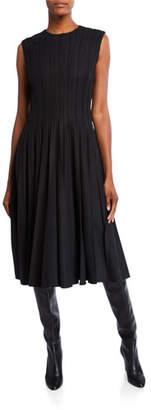 Oscar de la Renta Pleated Wool-Crepe Midi Dress