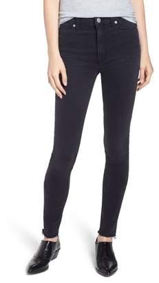 Hudson Barbara High Rise Raw Hem Super Skinny Jeans