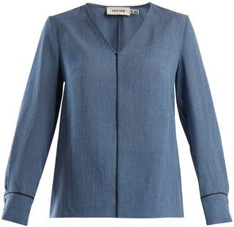 DAY Birger et Mikkelsen CEFINN Contrast-piped V-neck voile blouse