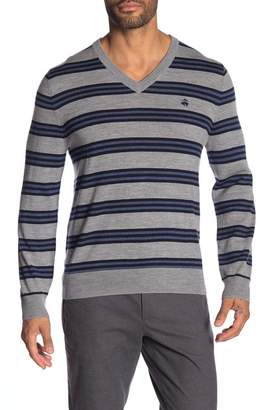 Brooks Brothers Stripe V-Neck Sweater