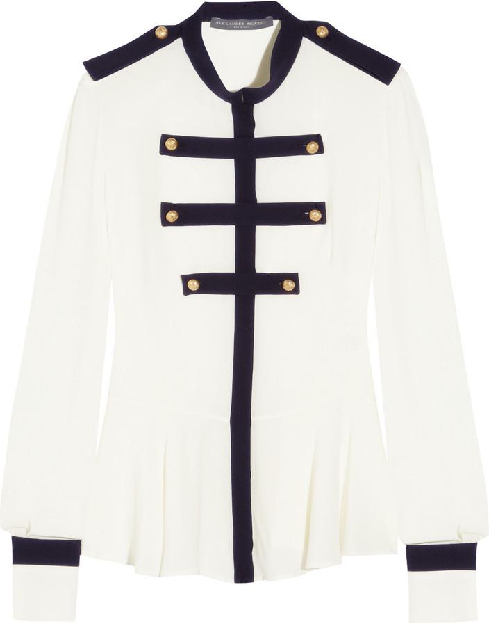 Alexander McQueen Military silk-georgette blouse