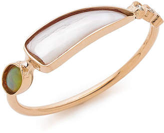Jacquie Aiche 14KRG 3 dia bezel round opal mother of pearl タスクリング ローズゴールド 7