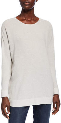 Eileen Fisher Petite Scoop-Neck Long-Sleeve Waffle-Knit Sweater