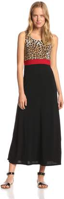 Star Vixen Women's Sleeveless Print Colorblock Maxi Dress