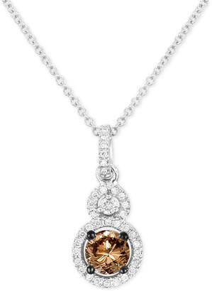 "LeVian Le Vian Chocolatier Diamond Double Halo 18"" Pendant Necklace (5/8 ct. t.w.) in 14k White Gold"