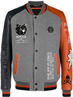 Philipp Plein mismatch sleeve bomber jacket