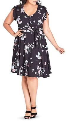 City Chic Plus Floral-Print Tulip-Sleeve Dress