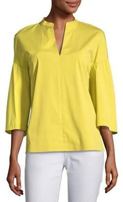 Lafayette 148 New York Carla Stretch-Cotton Blouse, Plus Size