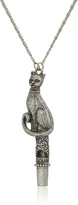 Michael Kors 1928 Jewelry Antiqued Pewter Tone Cat Whistle Pendant Necklace, 30""