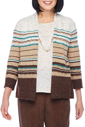 Alfred Dunner Classics Womens Open Neck 3/4 Sleeve Striped Layered Sweaters